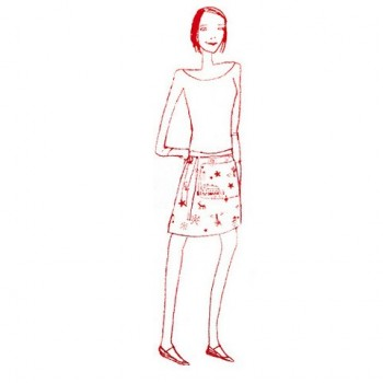 Short Adult apron with red details
