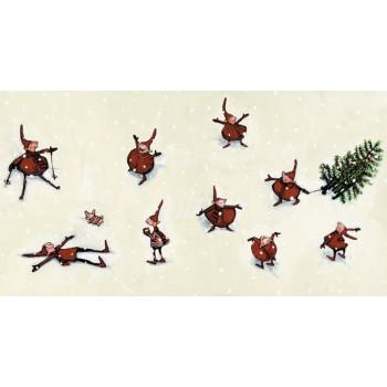 Postal duendecitos con  Arbol de Navidad