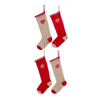 Christmas knitted Wooden beige/red sock