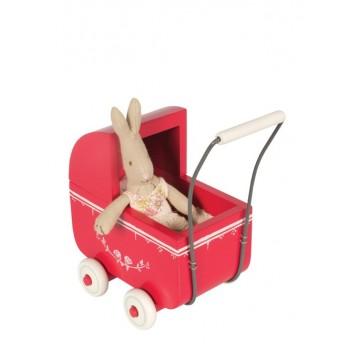 Red wooden vintage stroller