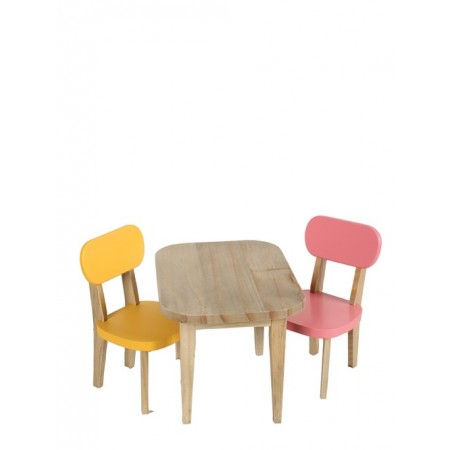 Set table and chairs pink/yellow.