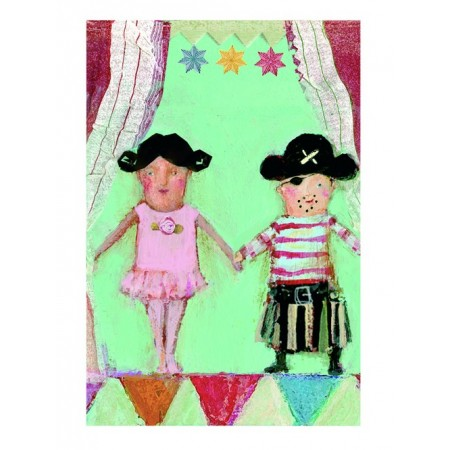 ballerina and pirate postcard