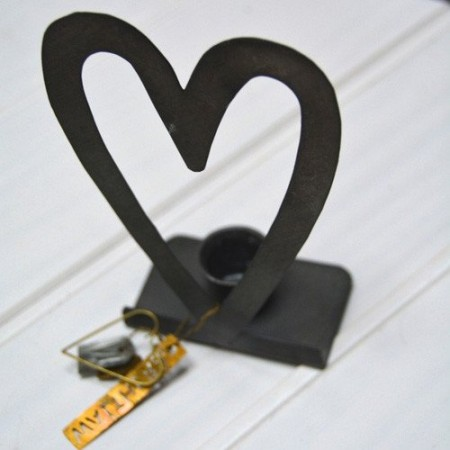 Zinc heart candle holder