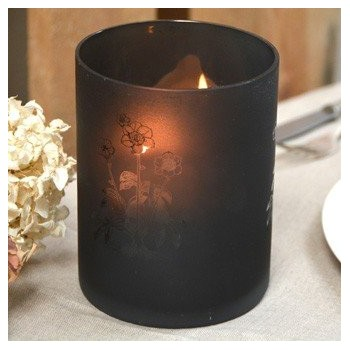 Glass engraved Crystal candle holder