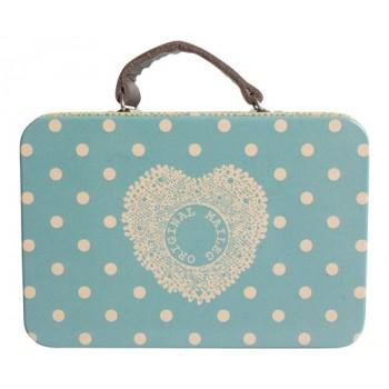 Blue suitcase tin box