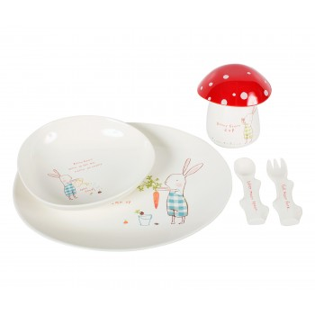 Bunny Blue melamine kids tableware, set 6