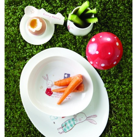 Bunny Blue melamine kids tableware, set 6