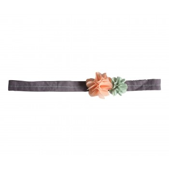 Hair band, fluff flowers, pink-green