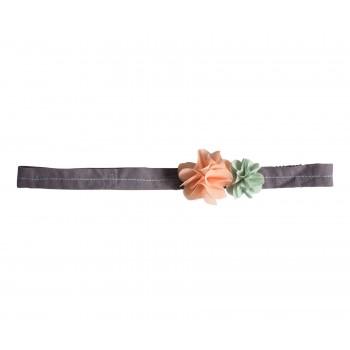 Hair band, fluff flowers, pink-green