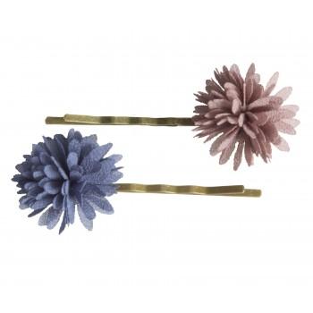 Bobby pins Chiffon flowers denim (2u.)