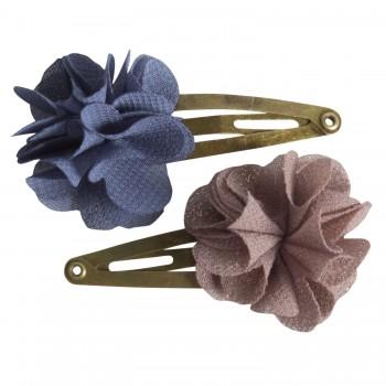 Hair clips, fluffy flower Denim (2u.)