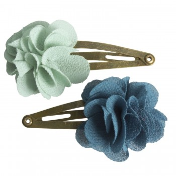 Hair clips, fluffy flower Aqua (2u.)