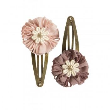 Horquilla clips mini flores rosa (2u.)