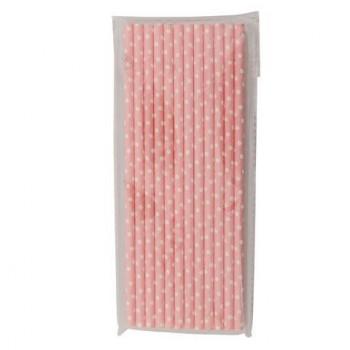 Pajita de topos rosa, set de 12 unidades
