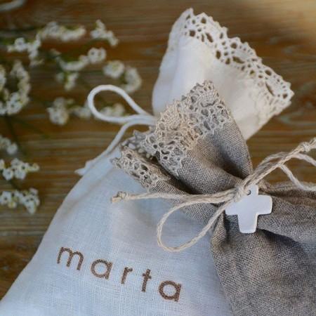 Customized linen candy favor bag. Cross