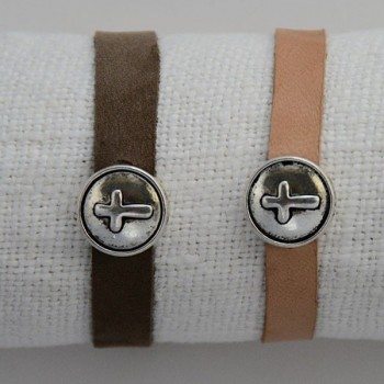 Round cross leather bracelet