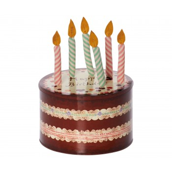 Birthday candles in cake box