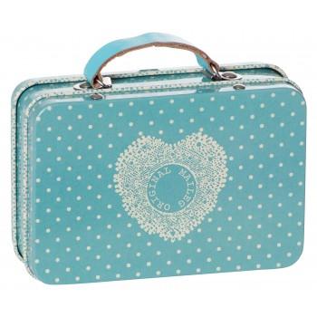 Caja de lata Maleta de viaje topos azul.