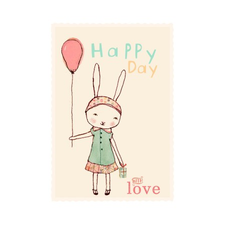 Happy Birthday postcard girl