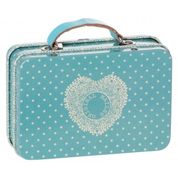 Metal dusty blue big dots suitcase