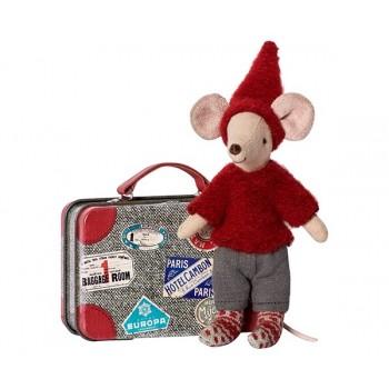 Ratón viajero, con maleta