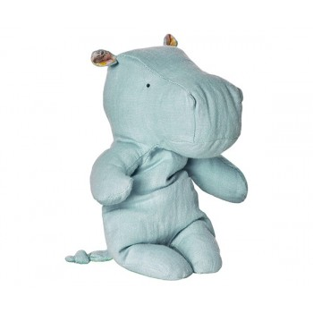 Peluche, pequeño hipopótamo, Azul