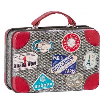 Caja de lata Maleta de viaje gris