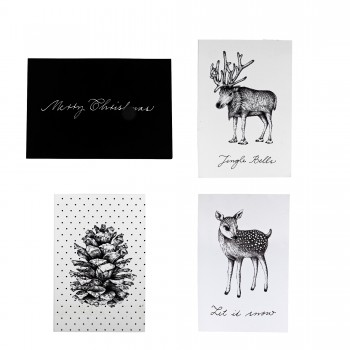 Christmas card white black set 4