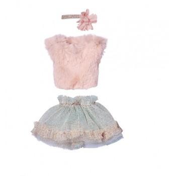 Conjunto falda menta, chaleco rosa.( Mini)