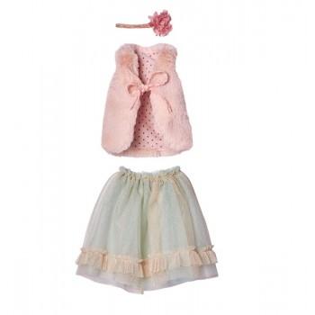 Conjunto falda menta, chaleco rosa.( MegaMaxi)
