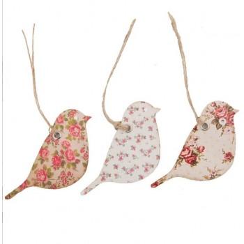 Vintage rose bird tags (set 15u.)