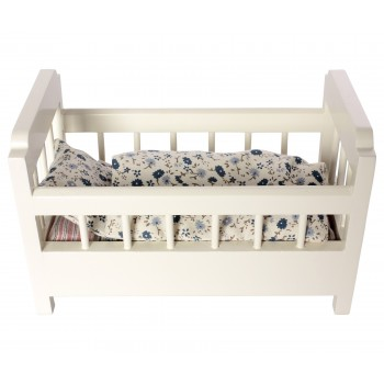 Wooden cot-bed offwhite
