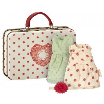 Suitcase red dots, 2 dresses set