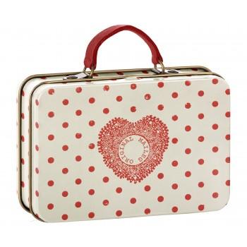 Metal suitcase cream, coral dots