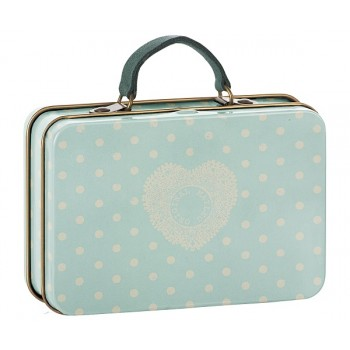 Metal Suitcase, Cream, Mint dots