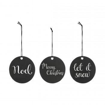 Christmas black gift tags, set of 3