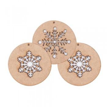 Xmas balls ornament wood, snow (I). Set of 3
