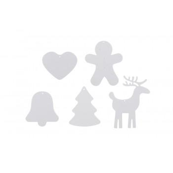 Xmas ornaments, assorted. Set of 5