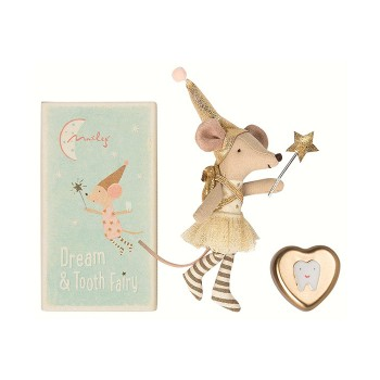 Mouse tooth fairy in box, gold with heart