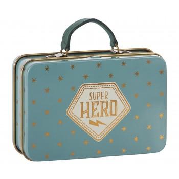 Metal travel suitcase blue