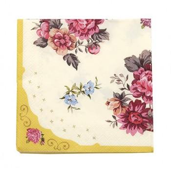 Servilletas de papel amarillo flores Vintage (30u.)