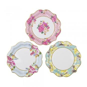 Platos de papel flores Vintage Pretty (12u.)