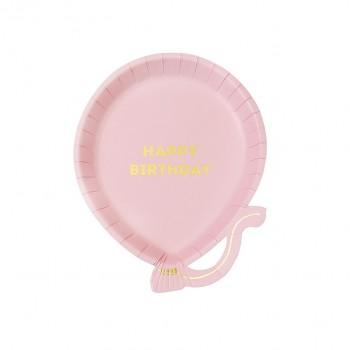 Platos de papel globo rosa (12u.)