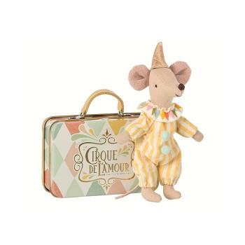 Ratón payaso, con maleta