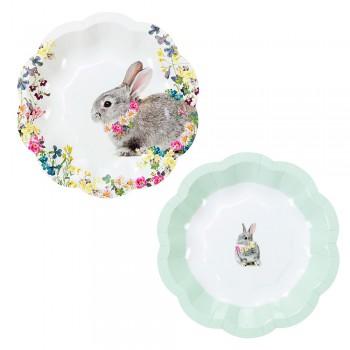 Platos de papel flores Bunny (12u.)