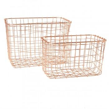 Cestos dúo rectangular cobre
