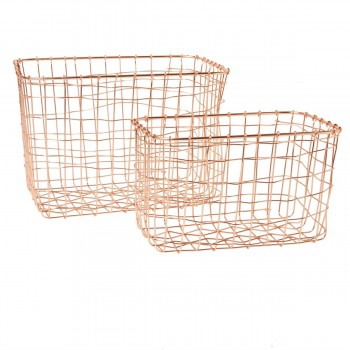Set of 2 copper wire mesh rectangular baskets