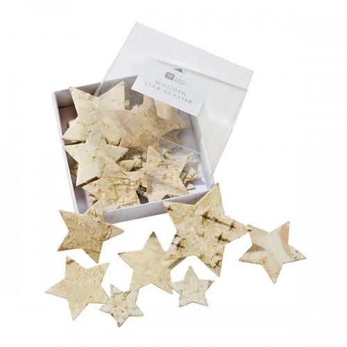 Confeti decoración estrellas de madera