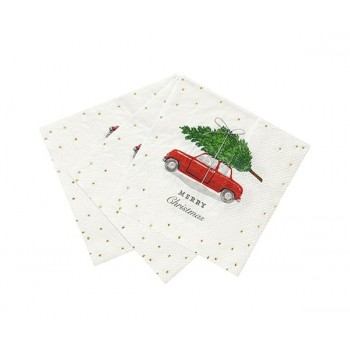 Botanical Christmas car Napkin 16pk