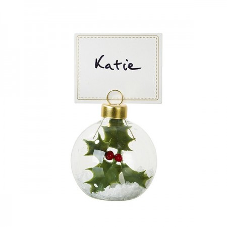 Botanical Christmas bauble place card holder six pack